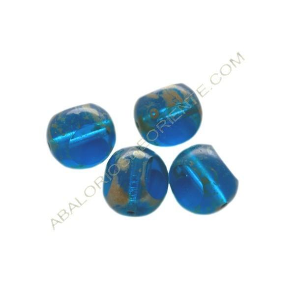 Cuenta de cristal de Bohemia bola cortada tres caras azul 12 mm