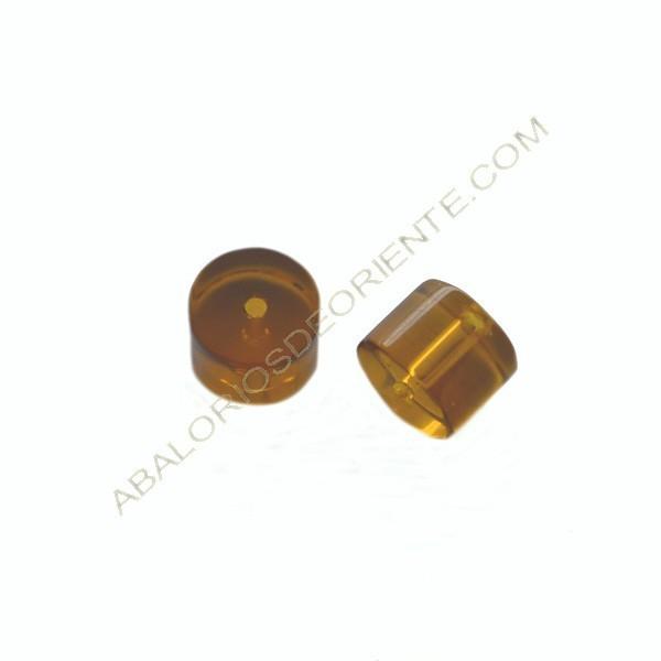 Cuenta de cristal de Bohemia cilindro ámbar 7 x 10 mm