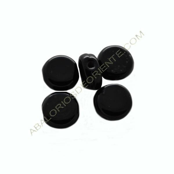 Redonda plana cristal murano negra 10 mm
