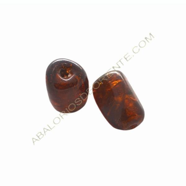 Cuenta de cristal de Murano cilindro cortado tres caras ámbar 22 x 14 x 14 mm