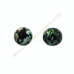 Cuenta de cristal de Murano bola negra pintada a mano 12 mm
