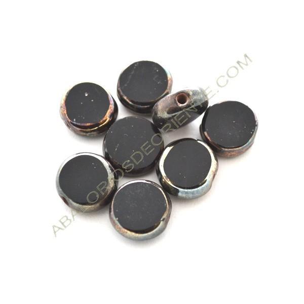 Cuenta de cristal de Murano redonda plana negra y metal 12 mm