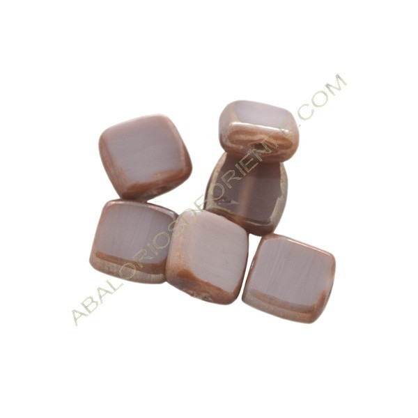 Cuenta de cristal de Murano cuadrada plana malva y marrón