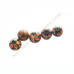 Cuenta de cristal de Murano bola negra y roja pintada a mano 12 mm