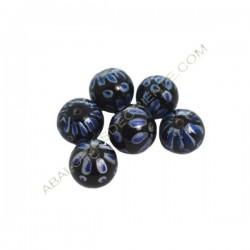 Cuenta de cristal de Murano bola azul y negra pintada a mano 13 mm