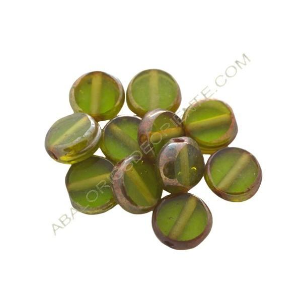 Cuenta de cristal de Murano redonda plana verde 12 mm