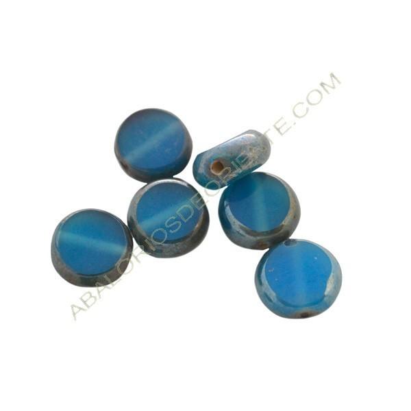 Cuenta de cristal de Murano redonda plana azul y metal 13 mm