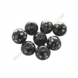 Cuenta de cristal de Murano bola pintada a mano negra y plata 12 mm