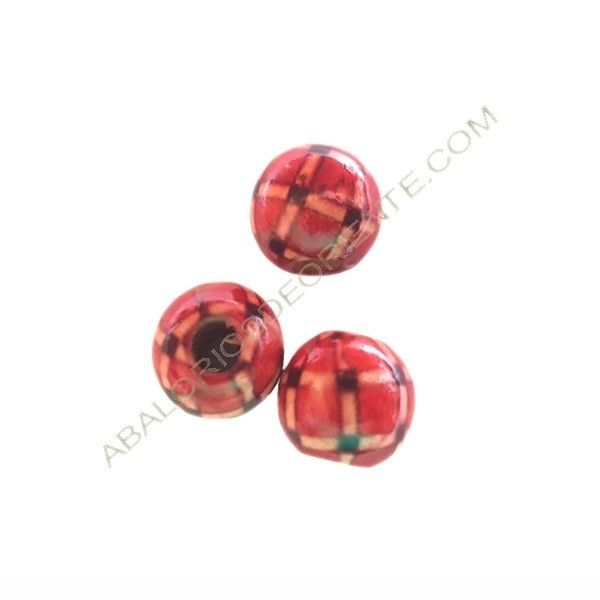 Bola madera bola roja decorada con cuadros de 12 mm