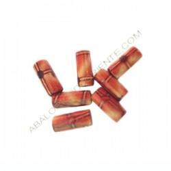 Cuenta de madera tubo decorada beige y ocre 12 x 6 mm
