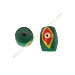 Cuenta de madera tonel verde pintada 20 x 15 x 15 mm