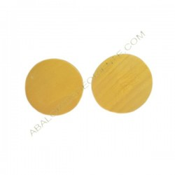 Cuenta de madera redonda plana amarilla 30 mm