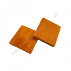 Cuenta de madera cuadrada plana naranja 30 mm