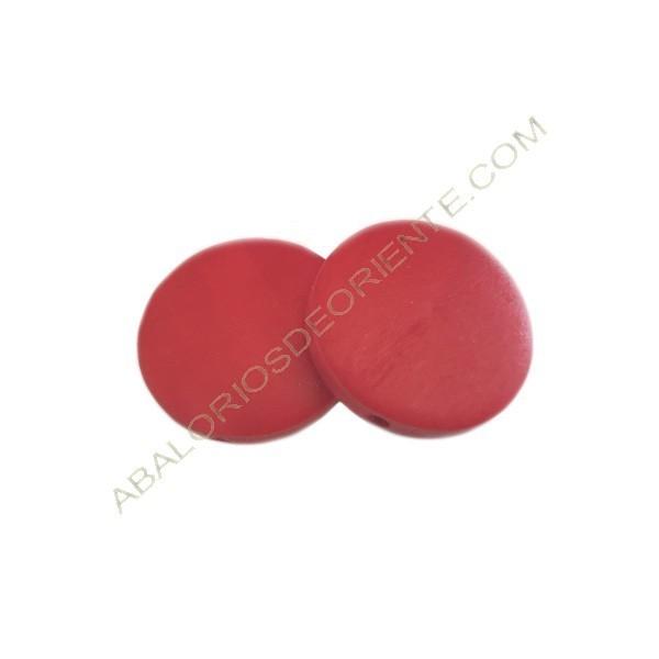 Cuenta de madera redonda plana roja 30 mm