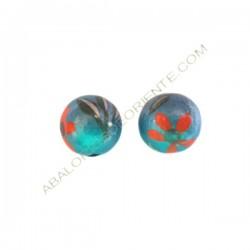 Cuenta de madera bola pintada azul 15 mm
