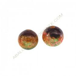 Cuenta de madera bola pintada verde, negra y ocres 20 mm