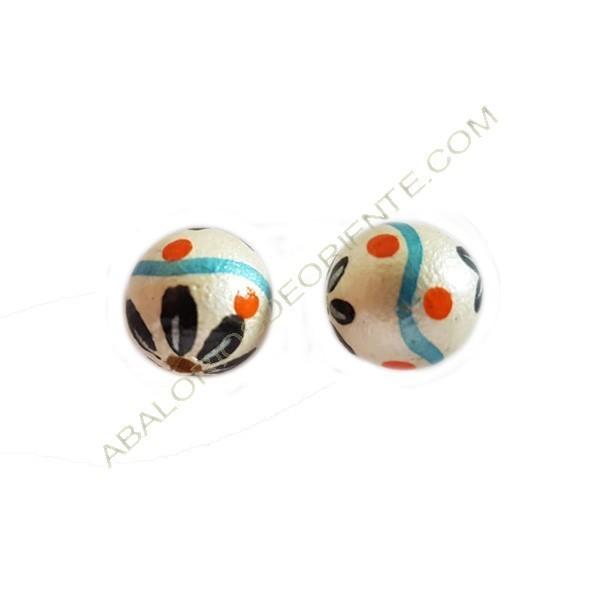 Cuenta de madera bola blanca pintada 16 mm