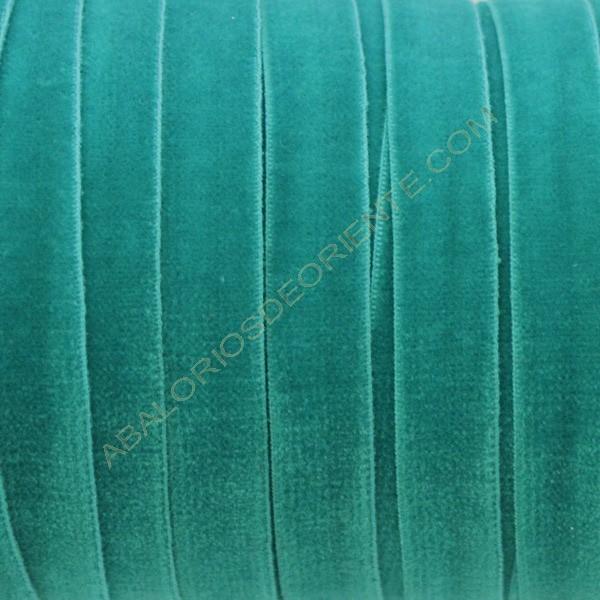 Cinta de terciopelo elástico verde esmeralda