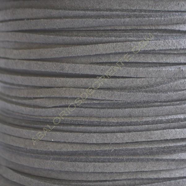 Cordón de antelina gris oscuro 3 x 1.5 mm