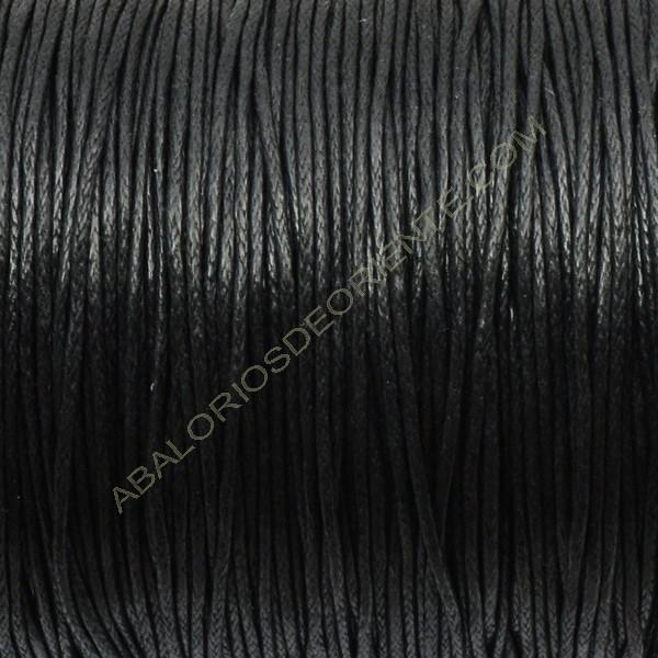 Algodón encerado brillante 1 mm negro