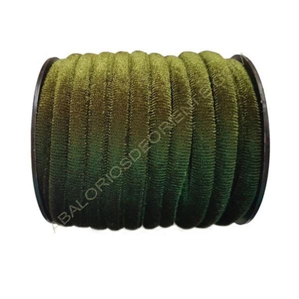 Cinta de terciopelo redondo verde de 6 mm