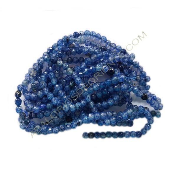 Ágata natural venas de dragón redonda facetada azul de 4 mm