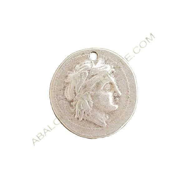 Colgante de aleación de Zinc moneda 26 mm plateado
