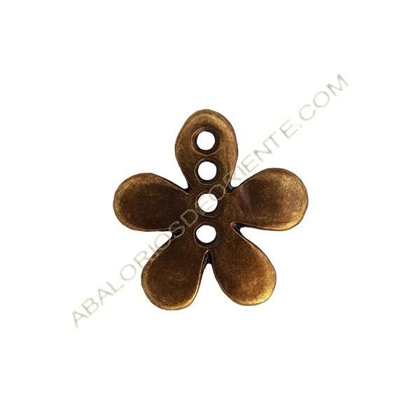 Colgante de aleación de Zinc flor 4 agujeros 29 x 29 mm bronce