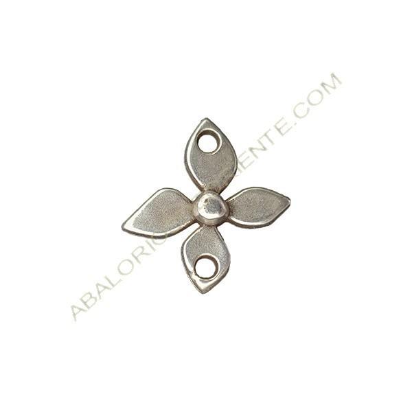 Colgante de aleación de Zinc flor 19 x 18 mm plateado