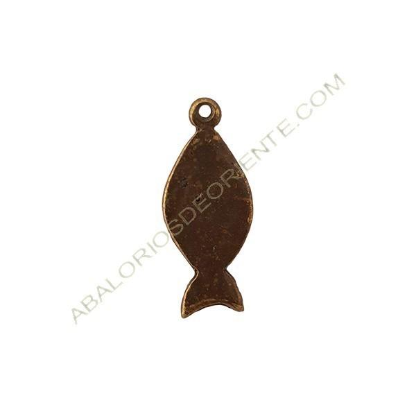 Colgante aleación de Zinc pez 30 x 13 mm bronce