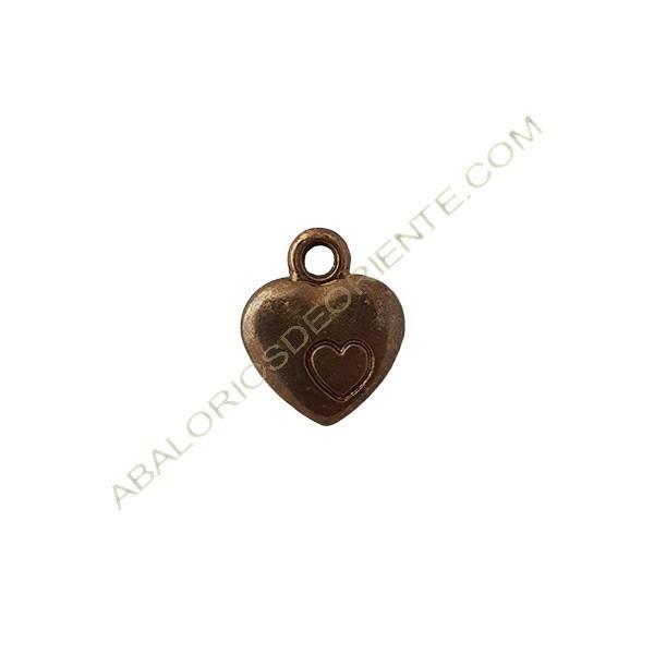 Colgante de aleación de Zinc corazón 12 x 10 mm bronce
