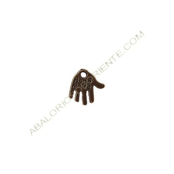 Colgante metal mano 13 x 12 mm bronce