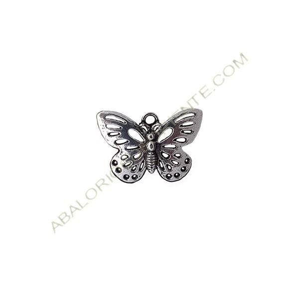 Colgante de metal mariposa plateado 18 x 24 mm