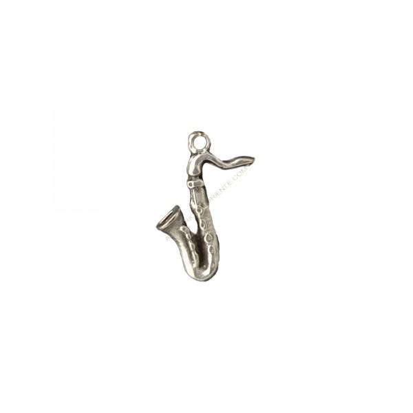 Colgante de aleación de Zinc saxofón plateado 20 x 15 mm