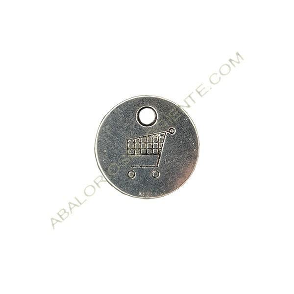 Medalla de metal carro compra 24 mm plateada