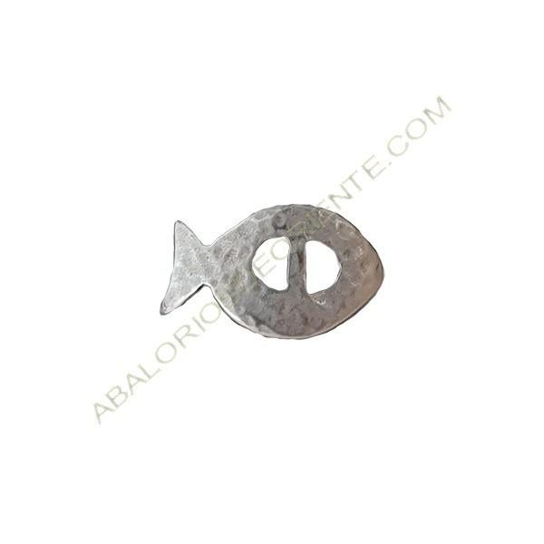 Entrepieza de aleación de Zinc pez 17 x 28 mm plateada