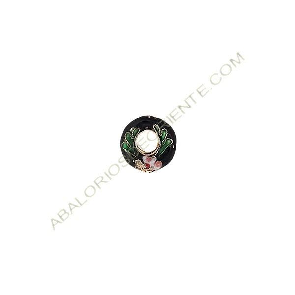 Aro de cloisonné negro 15 mm