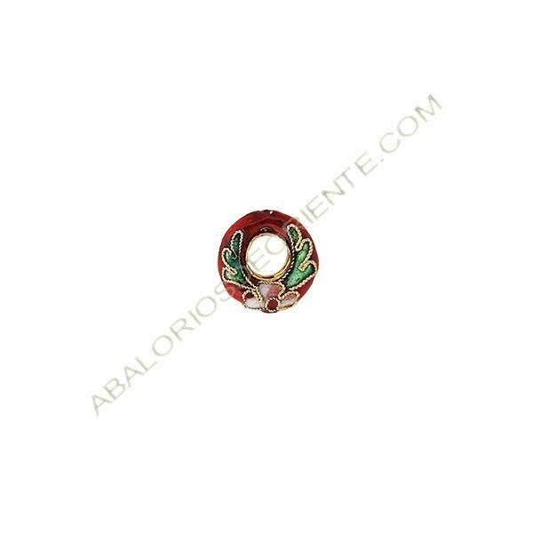 Aro de cloisonné rojo 15 mm