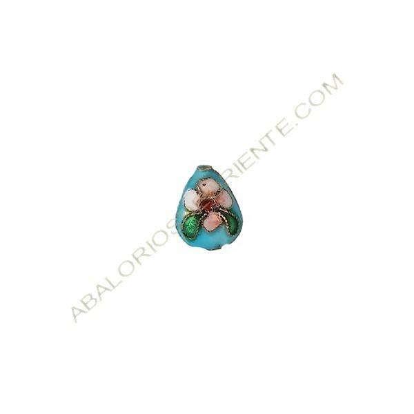 Entrepieza oval plana cloisonné azul 13 x 10 mm