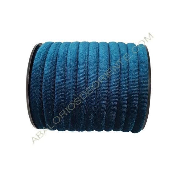 Cinta de terciopelo redondo azul mar de 6 mm