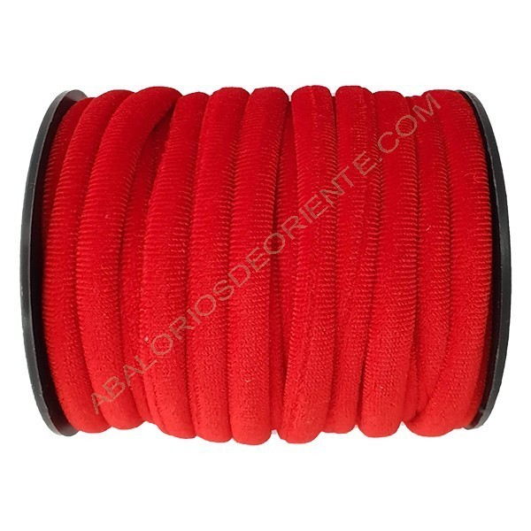 Cinta de terciopelo redondo rojo de 6 mm