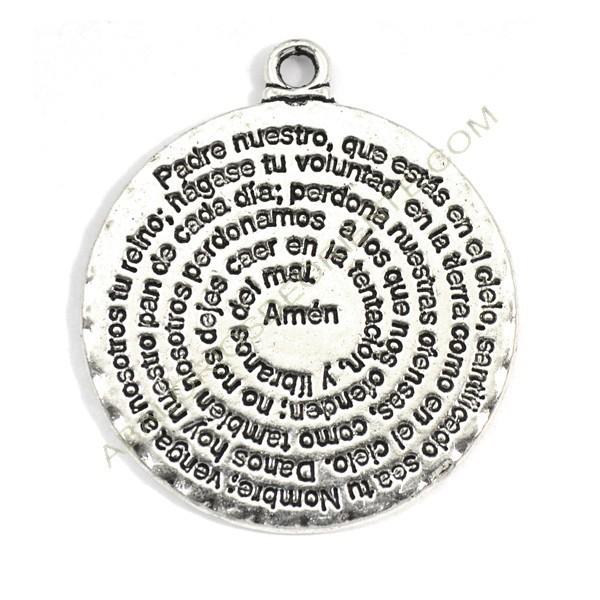 Colgante de metal plateado con inscripción del Padre nuestro 32 x 28 mm