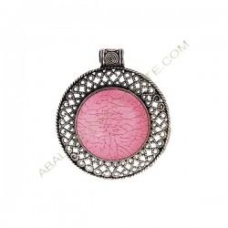 Colgante de aleación de Zinc redondo con resina rosa