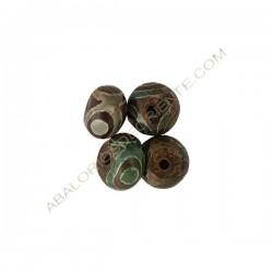 Ágata Tibetana DZI rondel 9-10 x 14 x 14 mm verde y marrón