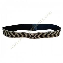 Cinturón elástico con cuentas bordadas blanco y negro