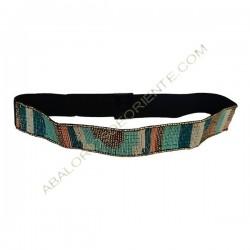Cinturón elástico con cuentas bordadas azul y rosa