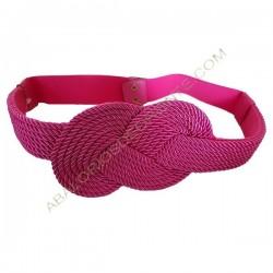 Cinturón de algodón trenzado nudo infinito fucsia