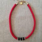 Collar seda roja y ágatas