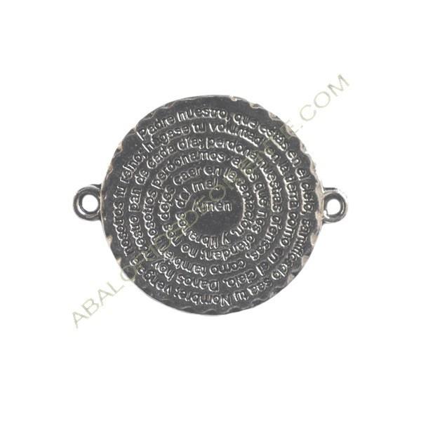 Conector de metal plateado con inscripción del Padre nuestro 35 x 28 mm
