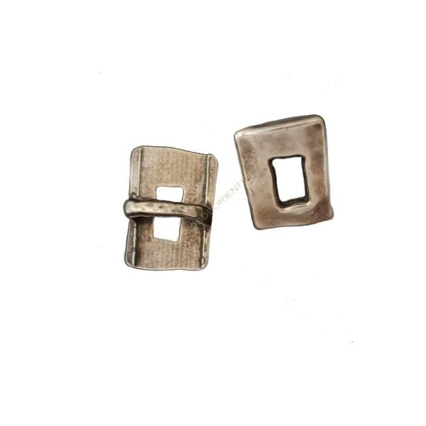 Entrepieza aleación Zinc rectángulo 14 x 19 mm plateada